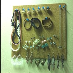 Use a cheap piece of cork board held to the wall with 3M strips and you have an instant jewelry organizer and wall decor. Your residence hall room will be the envy of your floor.