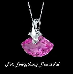 Pink Sapphire Shell Cut Cubic Zirconia Accent Sterling Silver Pendant