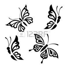 Collezione di farfalle in bianco e nero per la progettazione isolato su sfondo bianco. Vector.