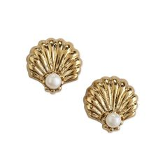 Shell Stud Earrings ($28) ❤ liked on Polyvore featuring jewelry, earrings, accessories, fillers, gold, pearls, two-tone, twotone, valentines day and two tone