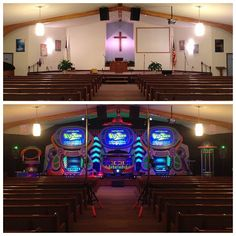 Great week, sharing the Gospel with the families around Shamokin PA here's a before/after shot of our invasion at Mountainside Church #AlienChurchMakeover #KidzturnChurchMakeover
