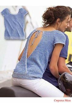 Пуловер с каплеобразным вырезом на спине спицами. - ВЯЗАНАЯ МОДА+ ДЛЯ НЕМОДЕЛЬНЫХ ДАМ - Страна Мам