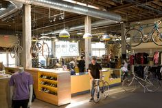Bike Shop | Retail Design | Sports Equipment | Shop Design | Austin Bike Shop - industrial and natural materials