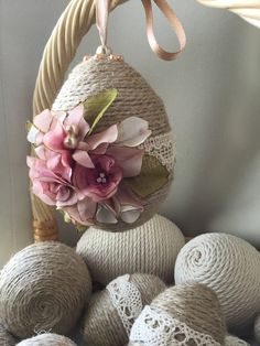 Easter eggs that are decorated with twine and lace! This is a must DIY Easter craft. Get our solid polystyrene / Styrofoam eggs, craft glue, rustic twine, lace, hanging pins and ribbon. This makes one perfect addition to your Easter basket or decoration for your home, restaurant, shop or hotel. Get the supplies and more inspiration from www.craftmill.co.uk