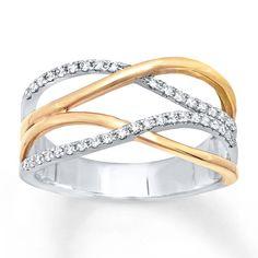 Diamond Ring 1/4 ct tw Round-cut 10K Two-Tone Gold