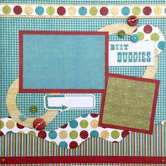 Best Buddies Premade 1 Page 12x12 Scrapbook by GLOwormpaperdesigns