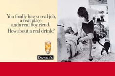 Old print ad for Dewar's. Plus a very leggy young lady. Win!