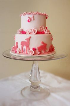 Cute girly animal floral cake but could easily convert it for a boy too