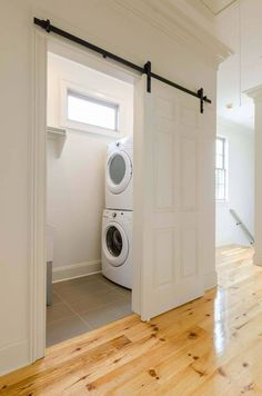 Installing interior barn door hardware can transform the look of your room. Read these steps in buying interior barn door hardware. Laundry Room Bathroom, Laundry Room Design, Laundry In Kitchen, Small Laundry Closet, Bathroom Barn Door, Small Pantry, 6 Panel Doors, Door Panels, Screen Doors