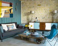 D coration salon alliant mobilier r tro et vintage et tendance tropicale de - Deco salon retro ...