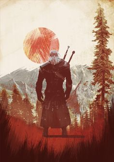 Brujo salvaje caza fan impresión arte geralt cartel por IamLoudness