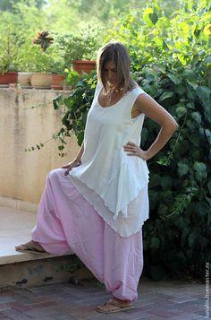 Брюки, шорты ручной работы. Ярмарка Мастеров - ручная работа Штаны-афгани бледно розовые. Handmade.