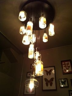 Repurposed whisky bottle chandelier - eclectic - powder room - san francisco - by Omega Lighting Design Rustic Lighting, Home Lighting, Lighting Ideas, Lighting Design, Liquor Bottle Lights, Wine Bottles, Whiskey Bottle Crafts, Whiskey Room, Bottle Chandelier