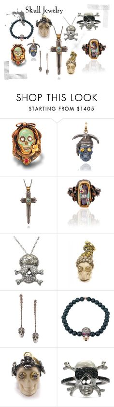 """""""Skull Jewelry"""" by osterjewelers ❤ liked on Polyvore featuring Adolfo Courrier, Halloween, jewelry, skull and Dayofthedead"""