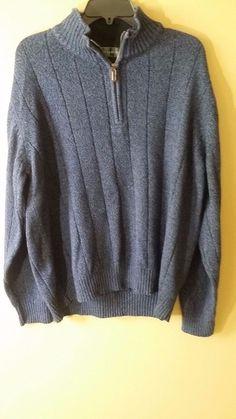 Oscar De La Renta sweater blue cotton blend 1/4 zipper front Sz XL #OscardelaRenta #12Zip