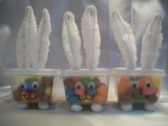 DIY Bunny Treat Boxes (Plastic containers/chenille pipe cleaners/eyes)
