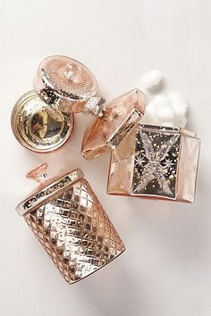 gorgeous rose gold jars for the vanity. Goes will with my gold and soft pink color scheme.: