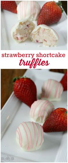 Strawberry Shortcake Truffles - Create delicious truffles by adding fresh strawberries and a whipped cream frosting to a crumbled angel food cake before dipping in white chocolate! Candy Recipes, Sweet Recipes, Cookie Recipes, Truffle Butter, Truffle Recipe, Christmas Treats, Christmas Baking, Christmas Truffles, Christmas Candy