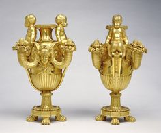 Pair of Candelabra; Attributed to Pierre Gouthière (French, 1732 - 1813/1814, master 1758); about 1775; Gilt bronze; 72.DF.43