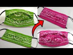 Sewing Hacks, Sewing Tutorials, Sewing Crafts, Sewing Projects, Easy Face Masks, Diy Face Mask, Bandana Crafts, Bandana Ideas, Diy Mask