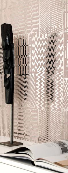 Etna by Interiors Europe -- like tribal block print but modernized with metallic dimension