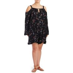 Jessica Simpson Plus Women's Floral Cold-Shoulder Romper ($67) ❤ liked on Polyvore featuring plus size women's fashion, plus size clothing, plus size jumpsuits, plus size rompers, black, floral print romper, long-sleeve rompers, drawstring romper, cold shoulder romper and long sleeve romper