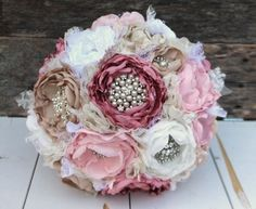 Heirloom brooch bouquet. Fabric peony flowers in by CraftyFrills