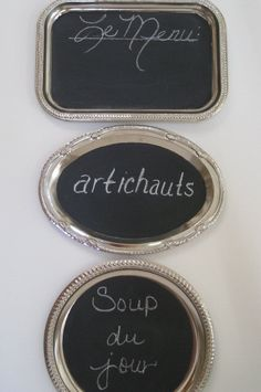 awesome idea for thrifted silver platters (I might have a chalkboard paint problem) Large Chalkboard, Chalkboard Decor, Magnetic Chalkboard, Silver Platters, Silver Trays, French Wedding Decor, Chalk It Up, Chalk Talk, Shabby