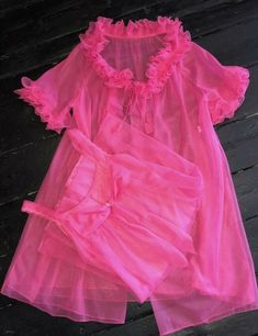 Nightie And Gown. in Clothing, Shoes, Accessories, Vintage, Women's Vintage Clothing Vintage Clothing, Vintage Outfits, Baby Dolls, Vintage Ladies, Hot Pink, Tulle, Ruffle Blouse, Lingerie, Gowns