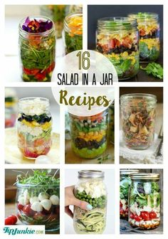 Salad Recipes In A Jar is Among the Liked Salad Of Many Persons Round the World. Besides Simple to Make and Excellent Taste, This Salad Recipes In A Jar Also Healthy Indeed. Mason Jar Lunch, Mason Jar Meals, Meals In A Jar, Salad Mason Jars, Mason Jar Recipes, Salad In A Jar, Soup And Salad, Healthy Snacks, Healthy Eating