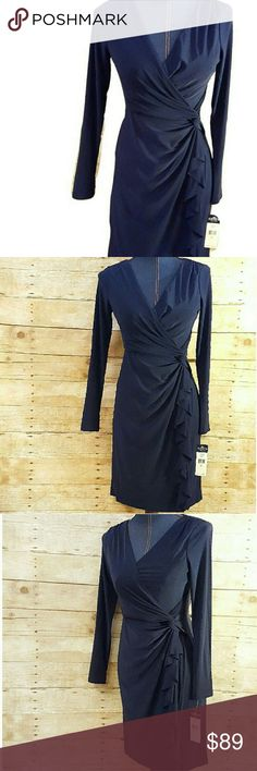 """NWT Ralph Lauren's CHAPS Faux Wrap Work Dress Oh-so-flattering Chaps (by Ralph Lauren) Long Sleeve dress. New with tags.Featuring a front faux-wrap and cascading ruffle that slims in all the right places! V-neck. 3/4 sleeves. Pullover style. Polyester/5% elastane. Lined bodice (poly). Machine Wash. Approx. flat measurements bust 17"""" length 35"""". Petite Small. Navy-1st pic w/ flash. A flattering, faux-wrap classic silhouette thats perfect to go from work to cocktails or any other evening out…"""
