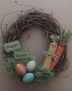 Primitive Grapevine Twig Wreath Happy Easter Spring Chicken Burlap Carrot Rustic   eBay