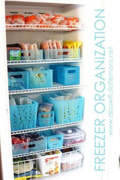 Freezer Organization using Post-It brand notes can make it easy for anyone to find what's needed without having to stand with the door open wasting energy. See how to organize your freezer via A Bowl Full of Lemons
