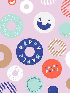 New Brand Identity for Happy Maple by Garbett — BP&O - Art Direction New Brand Identity for Happy Maple by Garbett — BP&O Brand identity, logo and illustration by Sydney-based graphic design studio Garbett for donut bakery Happy Maple. Kids Graphic Design, Geometric Graphic Design, Minimal Graphic Design, Graphic Design Quotes, Church Graphic Design, Web Design, Environmental Graphic Design, Design Typography, Japanese Graphic Design