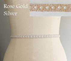 Thin Beaded Bridal Belt Sash Rose Gold Wedding by lolaandmadison