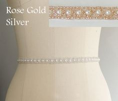 Thin Beaded Bridal Belt Sash Rose Gold Wedding by lolaandmadison