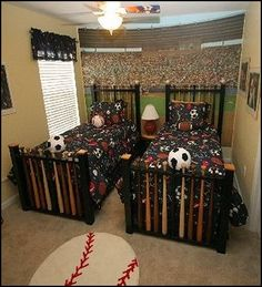 Sports Bedroom decorating ideas ~ A lot of really cute ideas on this blog (Maries Manor) Love the Beds!
