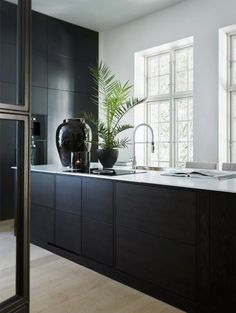 The best kitchen decor inspirations for your industrial home interior design. Black Kitchen Cabinets, Black Kitchens, Home Kitchens, Kitchen Black, Kitchen Sink, Interior Desing, Interior Design Kitchen, Kitchen Decor, Kitchen Ideas