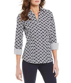 Investments Taylor Gold Label Non-Iron 3/4 Sleeve Chevron Stripe Button Front Shirt | Dillard's