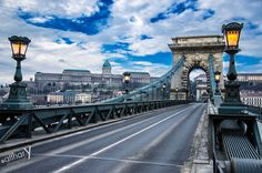 A rare moment- The lighted and empty Széchenyi Chain Bridge at daytime.