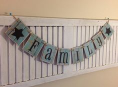 Family Banner Garland Sign Bunting Shabby Distressed Barn