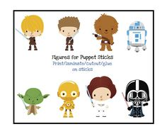 Free printable Star Wars characters for puppet sticks ~ Preschool Printables. So cute~ I used these to decorate the plate of a Star Was baby shower cake. Star Wars Baby, Theme Star Wars, Lego Star Wars, Star Wars Birthday, Boy Birthday, Printable Star Wars, Star Wars Karikatur, Aniversario Star Wars, Star Wars Classroom