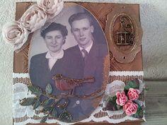 Kaart met oude trouwfoto
