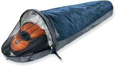 Gortex bivouac sacks can be used as minimalist shelter, or combined with a sleeping bag to keep it dry and add to its warmth.