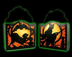 Witch and Black Cat with Bat Halloween Lantern