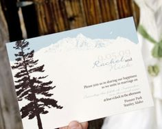 Mountain Wedding Invitation - Featuring Pine Tree and Mountain Scape - Design Fee