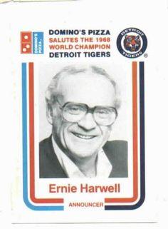 1988 Dominos Pizza Ernie Harwell Baseball Card Detroit Tigers
