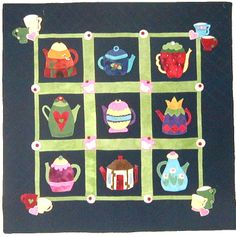 "Teapots quilt pattern, 40 x 40"", at Out Of Hand. A whimsical wool wall hanging stitched by hand or machine."