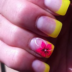 Tropical nails would use different color than yellow tho Colorful Nail Designs, Gel Nail Designs, Cute Nail Designs, Get Nails, Fancy Nails, How To Do Nails, Fabulous Nails, Gorgeous Nails, Tropical Flower Nails