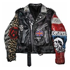 New Men's Jackets. Jackets certainly are a very important part of each and every man's clothing collection. Men require jackets for several situations and several varying weather conditions. Punk Jackets, Cool Jackets, Casual Jackets, Painted Leather Jacket, Diy Leather Jacket, Battle Jacket, Revival Clothing, Looks Black, Punk Outfits